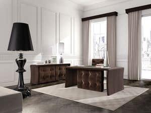 Wall Street Bürotisch, Tufting-Tabelle für Exekutivämter, in Eichenholz