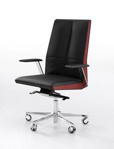 Impero M, Executive Bürostuhl mit Leder bezogen