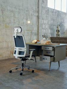 Omnia White Plus 01 PT, Eleganter Bürostuhl mit Kopfstütze