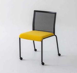 Teckel R, Stuhl mit Rädern und Rückenlehne in Mesh