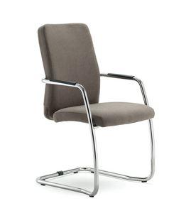 UF 137 / S, Stuhl mit Schlitten gepolstert, mit eleganten Nähten