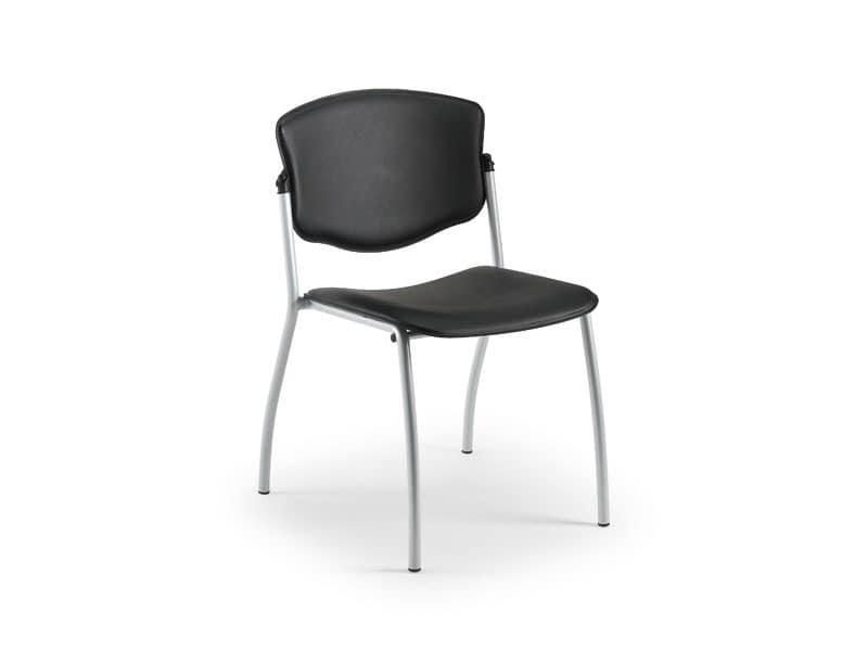 Valeria 65341, Metallstuhl in Leder, für Warteräume abgedeckt