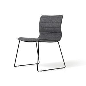 Miss Schlitten, Stuhl mit Stahlschlitten, für Büro, gepolstert