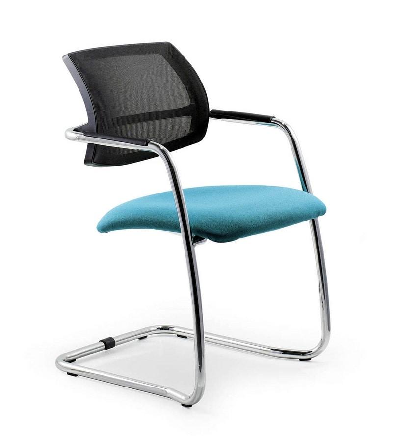 UF 133 / S, Stuhl auf Kufen mit Netzrücken, für elegante Büros