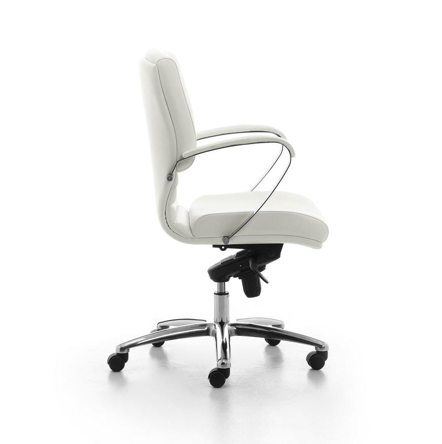 Digital Chrome 02, Directional Polsterstuhl mit mittelhoher Rückenlehne für Büro