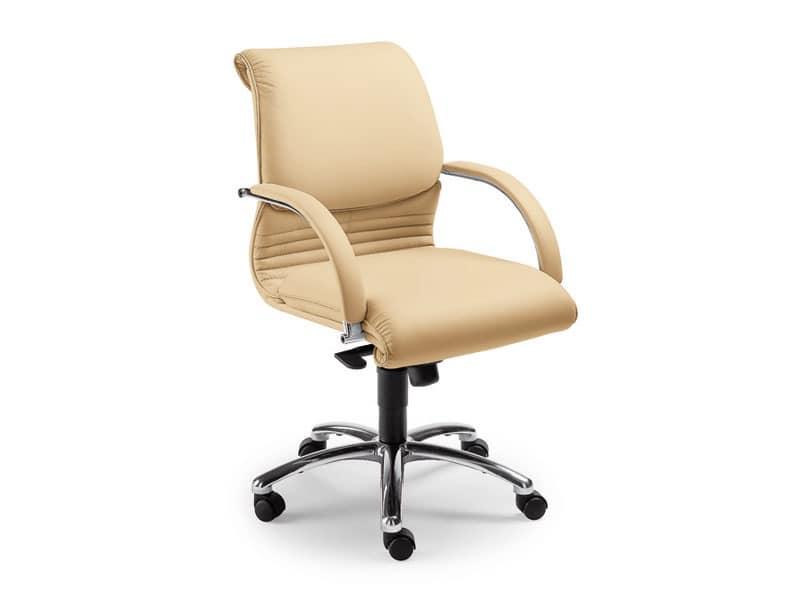 Elegance executive 2856, Lederstuhl auf Rollen für Büros, Gaslift