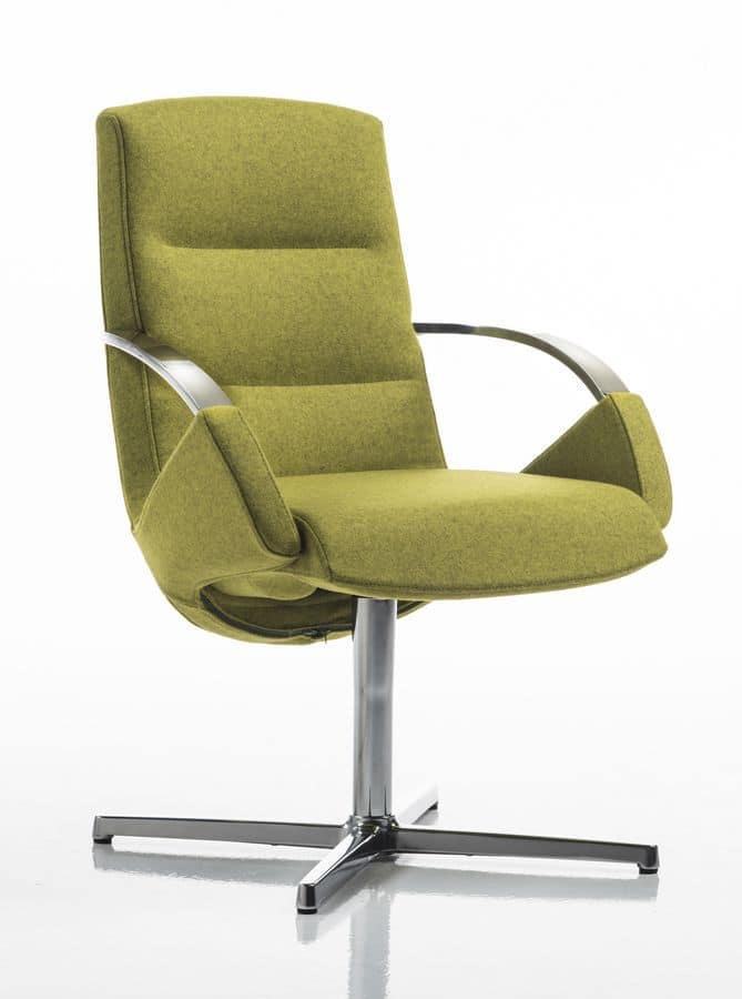 Moon armchair, Elegante Bürostuhl, Drehgestell mit 4 Rennen