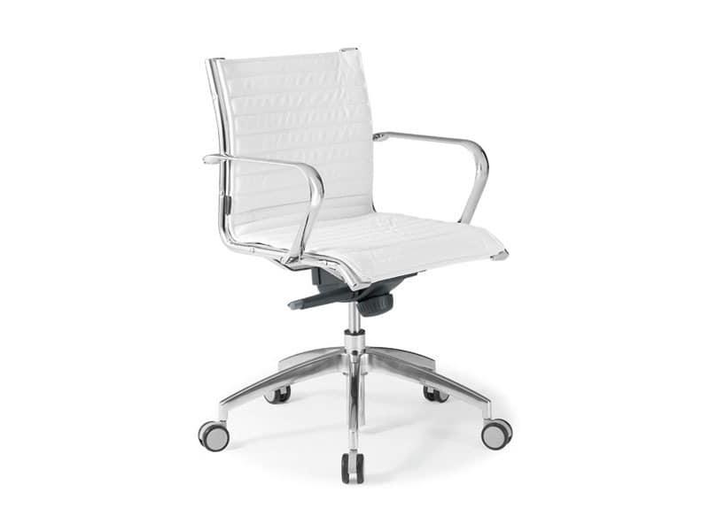 Origami IN executive 70120M, Bürostuhl aus Leder mit Gestell aus verchromtem Stahl