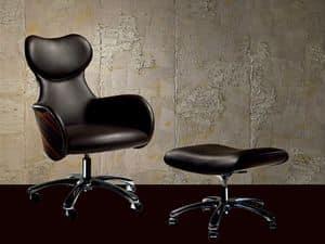 PO33 Cartesio Sessel, Verstellbarer Sessel mit einem schlanken Form, für das Büro