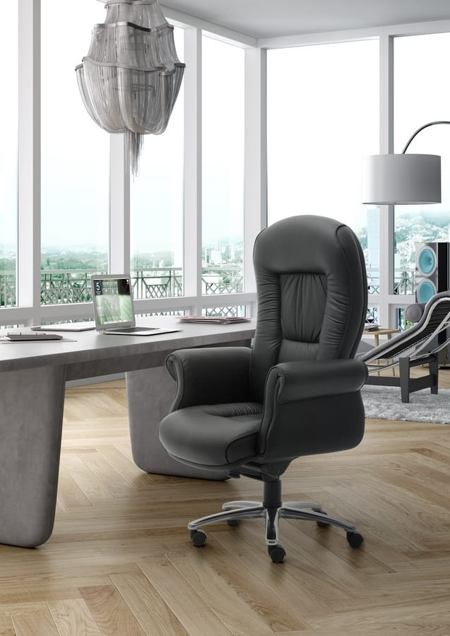 Doge Lux high executive, Chefsessel, mit Leder bezogen