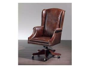 Fiore glatt, Bequeme Sessel für das Büro in Leder bezogen