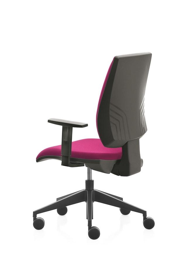 Kubix, Bürostuhl mit Armlehnen und Räder, Rückenlehnenneigung