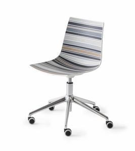 Colorfive 5R, Chair Design, Metallsockel mit Rollen, mehrfarbigen Shell