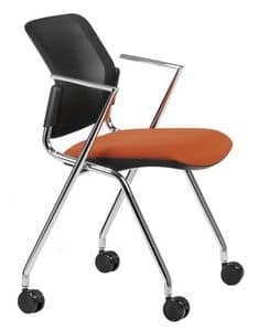 NESTING DELFINET 075 R, Stuhl mit verchromtem Metallgestell und den Armlehnen mit Rollen