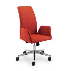 UF 509 / A, Gepolsterter Stuhl mit Gummirädern und gebogene Rückenlehne