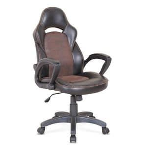 Bürosessel Rennsport Ergonomischer Stuhl - SU001RAC, Bürostuhl mit Rädern, mit sichtbaren Nähten