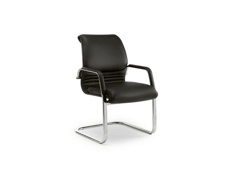 Elegance guest 2880, Bürostuhl aus verchromtem Metall, Lederpolsterung