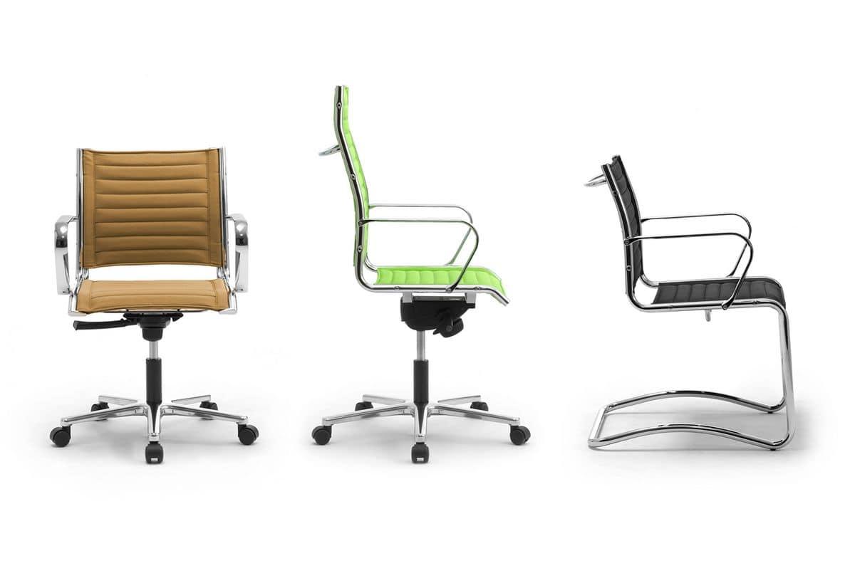 Origami TD guest 70050, Stuhl aus verchromtem Stahl mit Lederpolsterung aus