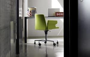Plate 50 with Castors and armrests, Bürostuhl mit Armlehnen, handgefertigte Verkleidung