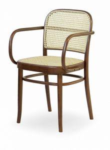 V13P, Stuhl mit Sitz und Rückenlehne aus Wiener Stroh.