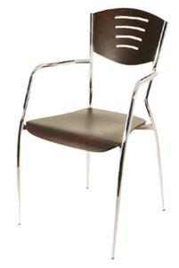 PL 103, Holzstuhl mit Beinen aus verchromtem Metall