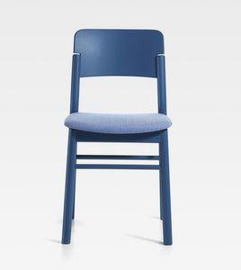 Pop, Holzstuhl mit gepolstertem Sitz