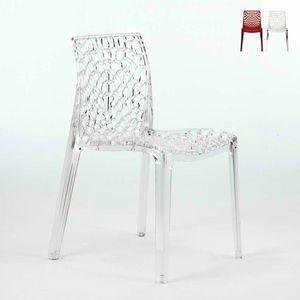 Transparente Polycarbonat Stühle Küchenleiste GRUVYER Grand Soleil - S6316TR, Küchenstuhl aus transparentem Polycarbonat