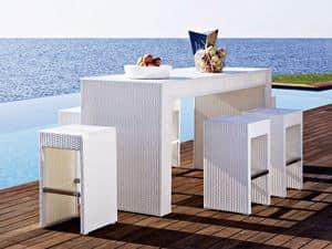 Cora Stehtisch, Outdoor-Stehtisch, gewebt, für Garten und Strand