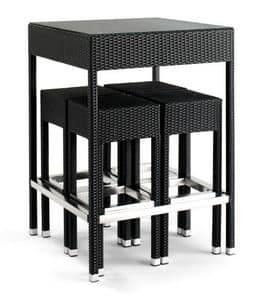 Set 2010, Geflochtene Tisch aus Aluminium, mit Glasplatte