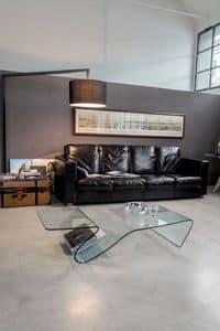 ALARIC, Couchtisch aus Glas, mit Zeitschriftenst�nder, f�r Wohnzimmer