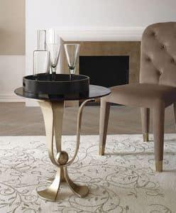 Calice kleinen Tisch, Couchtisch aus gebogenem Eisen, handpoliert, Glasplatte