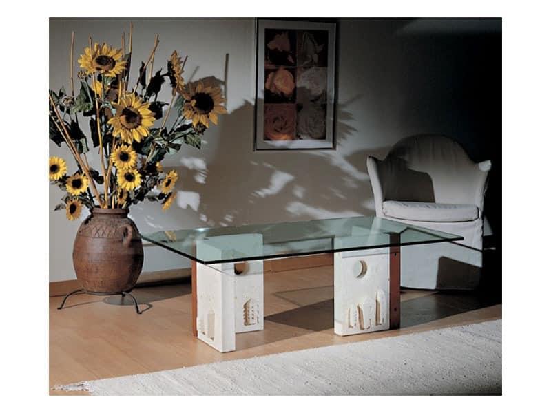 Celeste, Couchtisch mit Steinstruktur, moderner Stil