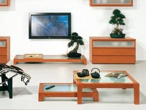 Complementi Tavolino Vetro 09, Couchtisch aus Holz und Glas, aus haltbaren Materialien