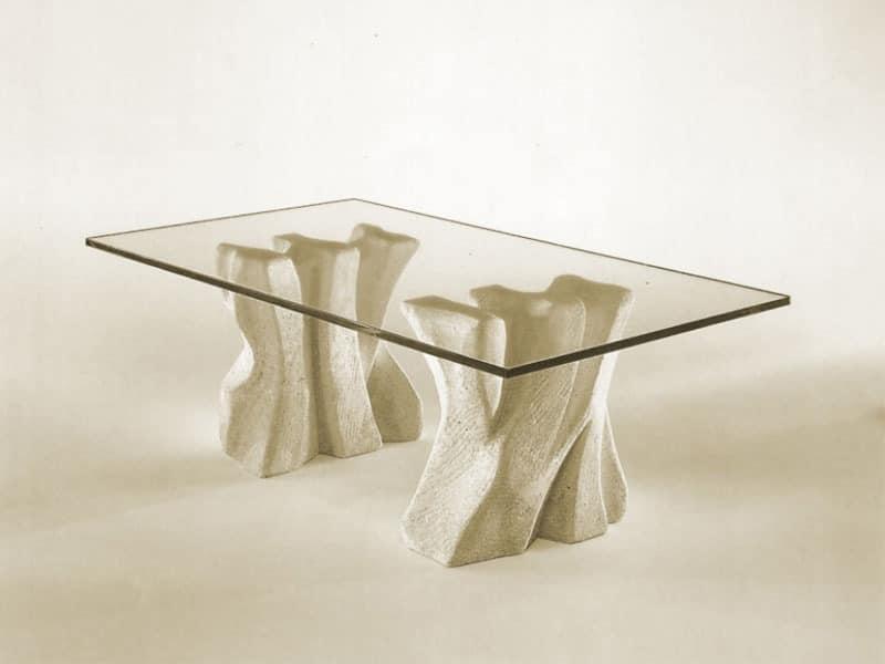 Contrasto, Stein Couchtisch für das Haus mit Tischplatte aus Glas