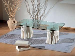Elefantini, Couchtisch für Wohnzimmer, aus Stein und Glas