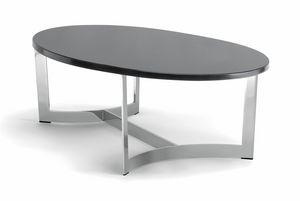HUGO COFFEE TABLE 088 CO H30 - 088 NO H30, Ovaler Couchtisch mit anpassbarer Platte