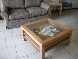 Jolly, Couchtisch aus Holz und Glas, Auszugböden, für Wohnzimmer