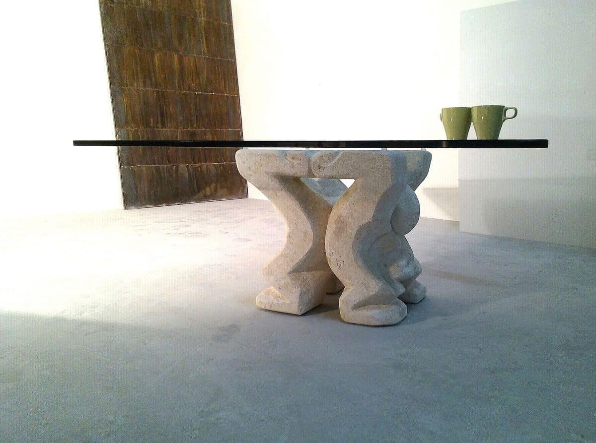 Omini Couchtisch, Couchtisch für zu Hause oder im Büro, mit Säule aus Stein