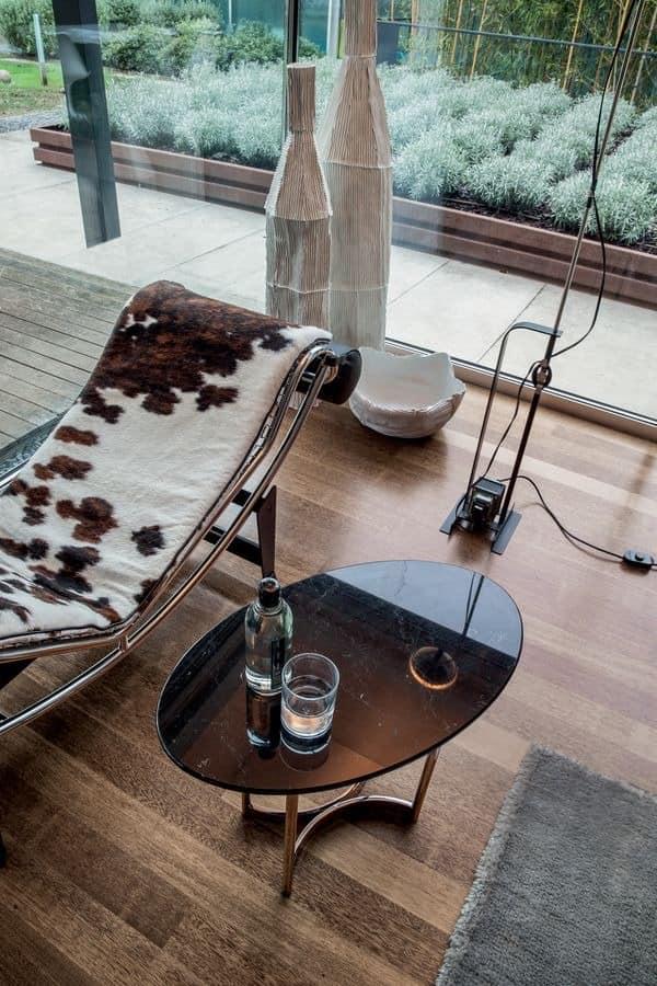 PARIOLI, Kaffeetisch, elliptisch Marmorplatte, Metallsockel