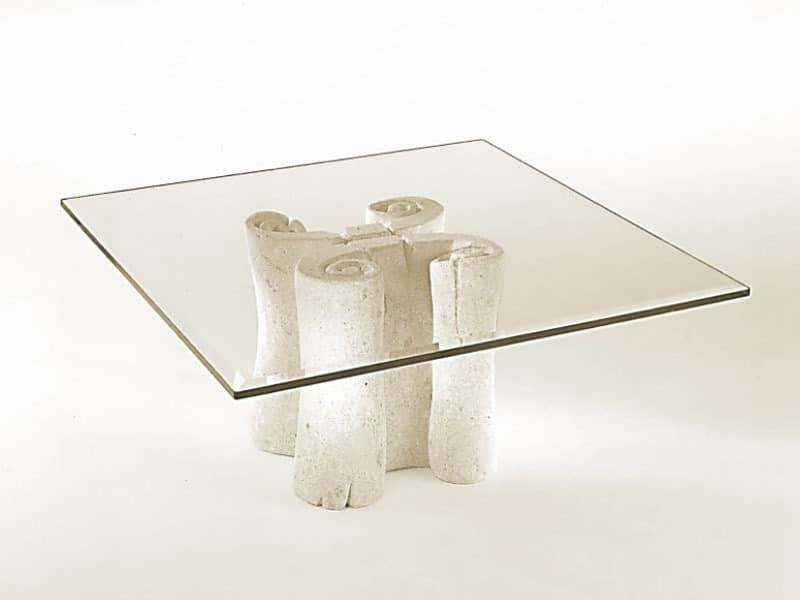 Pergamena, Kaffeetisch mit quadratischen Tischplatte aus Glas, Steinsockel