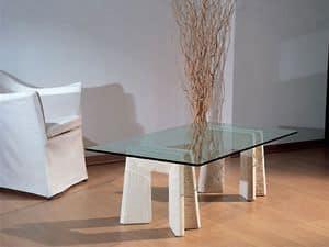 Riflesso, Tisch mit Basis in Stein für Heim und Büro