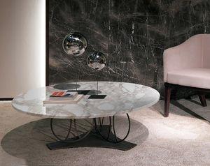 TL59 Moon kleiner Tisch, Couchtisch mit runder Marmorplatte
