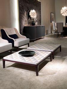TL61 Square kleiner Tisch, Quadratischer Couchtisch für Wohnzimmer, im Holz