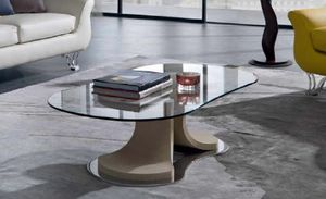 TL66 Mistral kleiner Tisch, Couchtisch mit konischer Form, Glasplatte