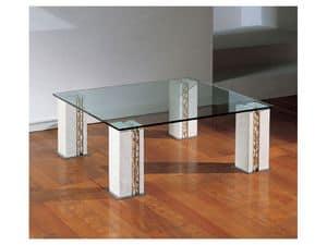 Tracce, Tabelle mit 4 Beinen in Stein, oben in Glas
