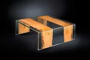 Venezia Small, Quadratischer Couchtisch aus Holz und Glas