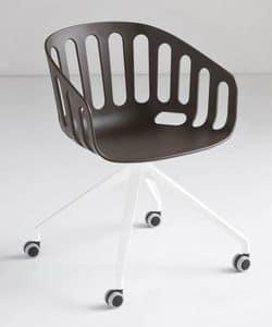 Basket Chair UR, Drehstuhl mit Aluminium 4-Sterne-Basis mit Rädern