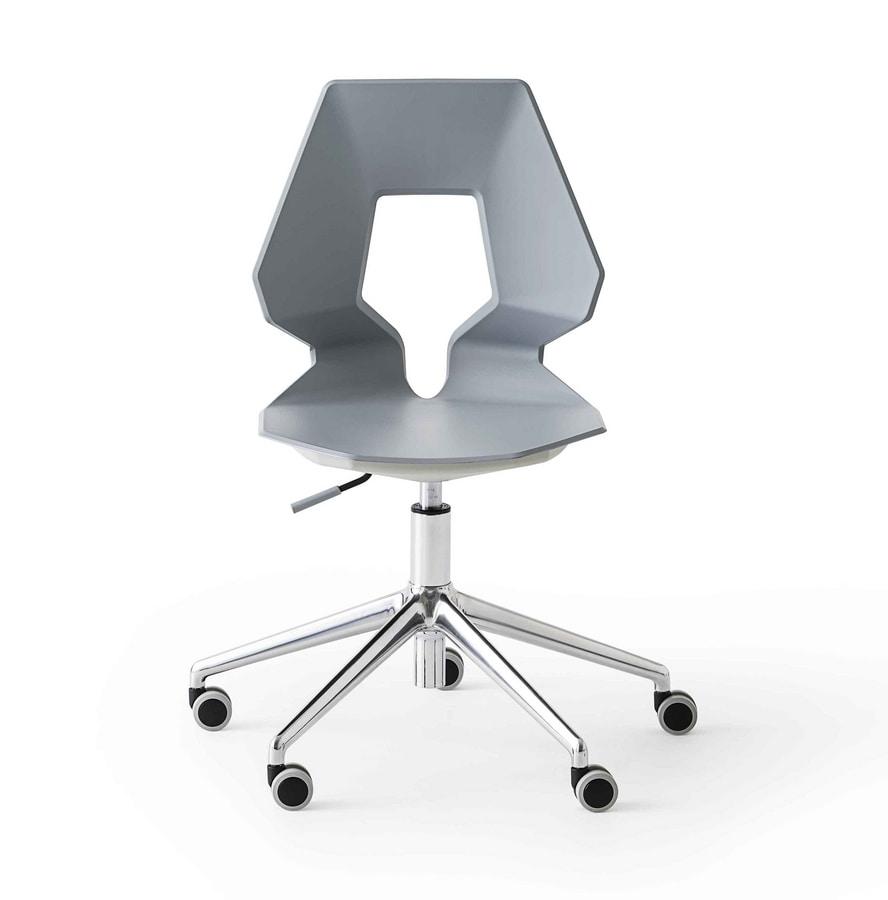 Prodige 5R, Moderne Bürostuhl mit Rollen, in Metall und Polymer