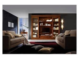 Art.0777/L, Einbauwand aus Holz für Wohnzimmer, im klassischen Stil