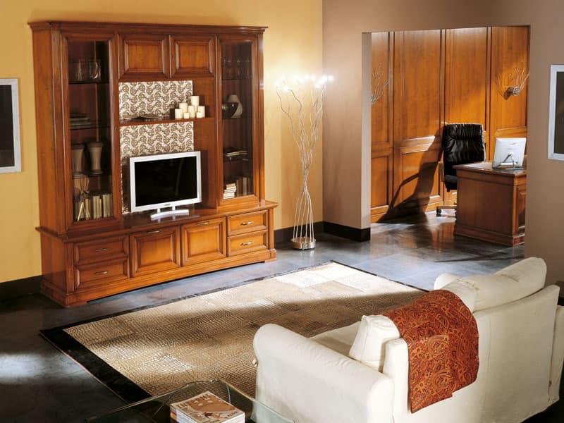 Art.103/L, TV-Ständer aus massivem Holz, klassischen Stil
